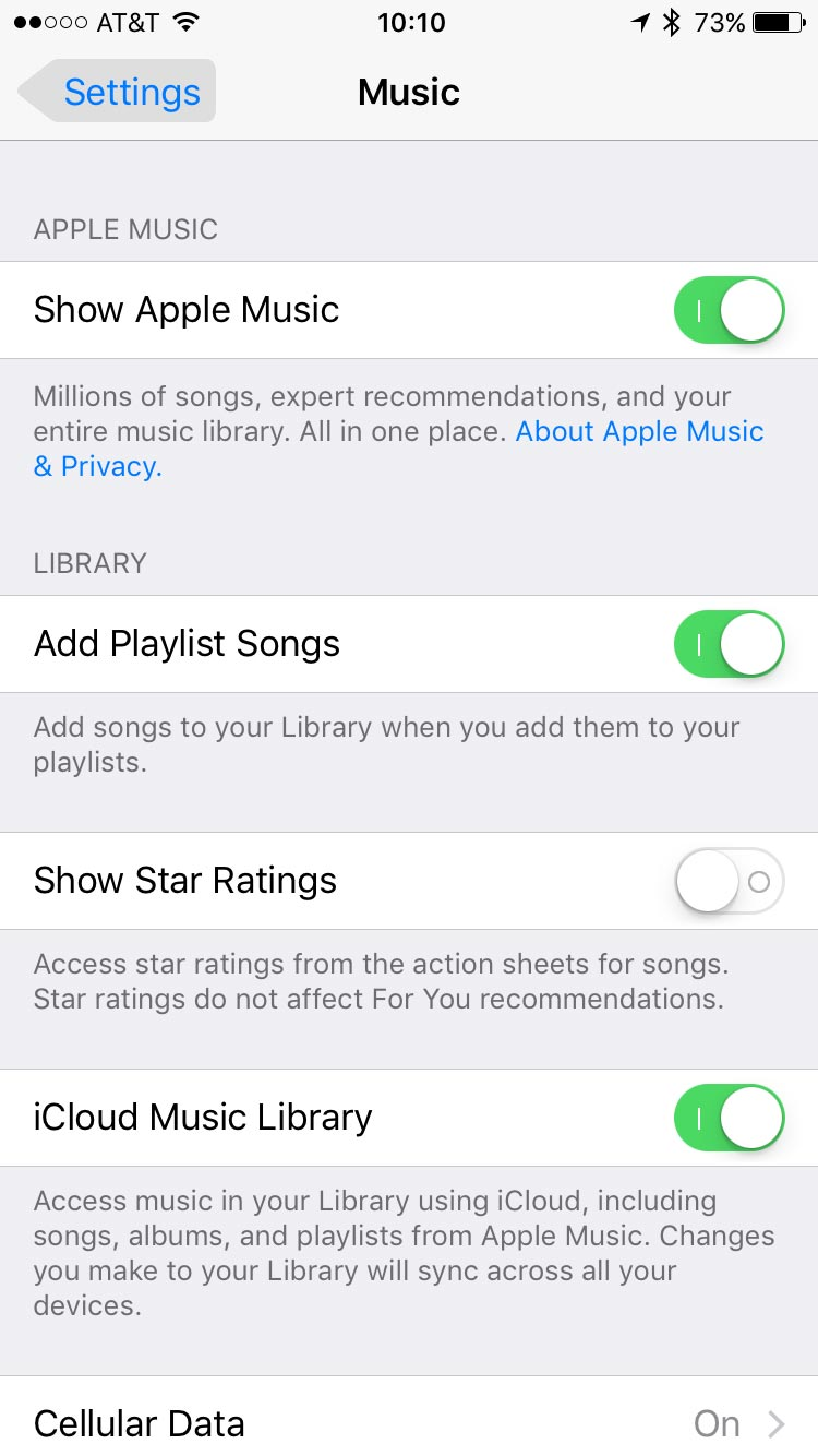 Music Settings in iOS 10.2. Beta