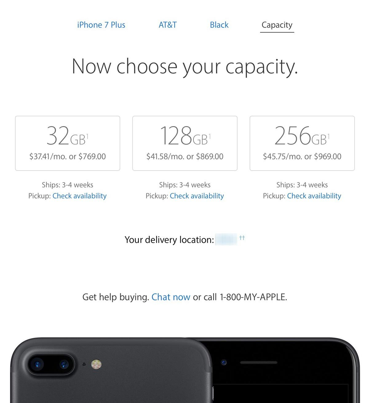 Screenshot Showing iPhone 7 Plus Availability