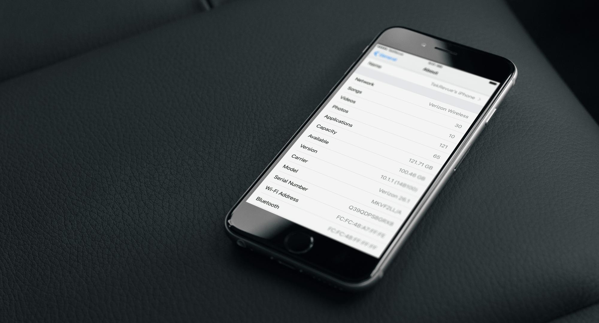 iphone settings serial number