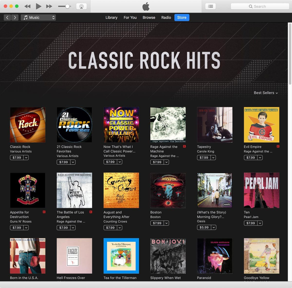 Screenshot from iTunes Store Classic Rock Album Sale