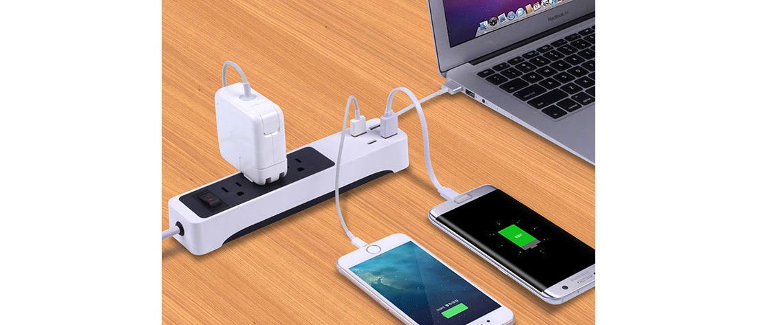 Kinkoo 3-Outlet, 4-USB Port Surge Protecting Smart Power Strip: $24.99