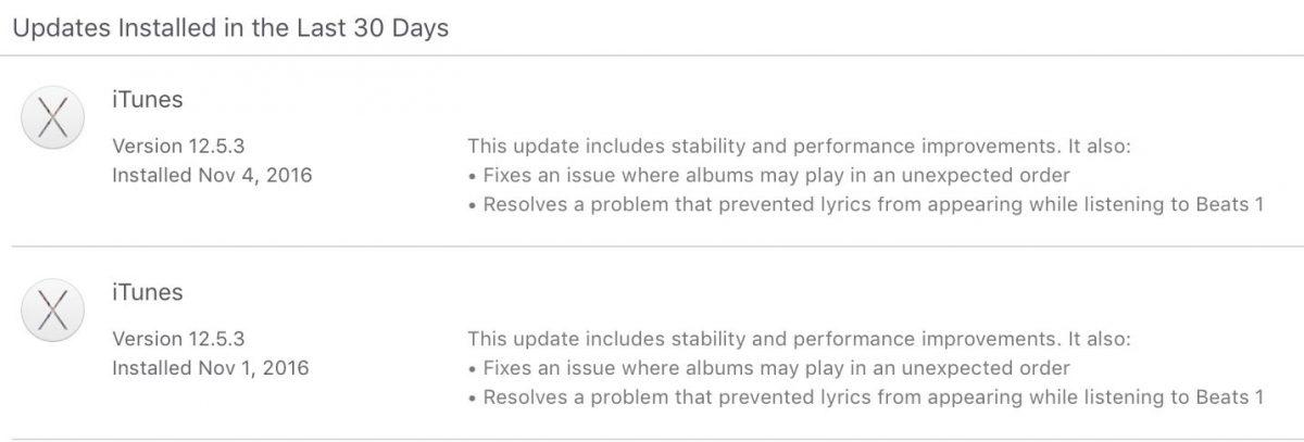 Mac App Store Update Log