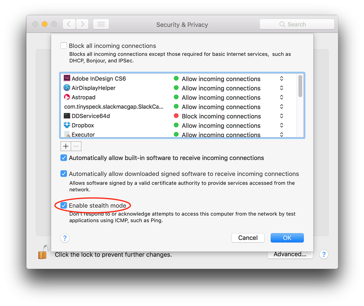 macOS Sierra Stealth Mode setting in Security & Privacy
