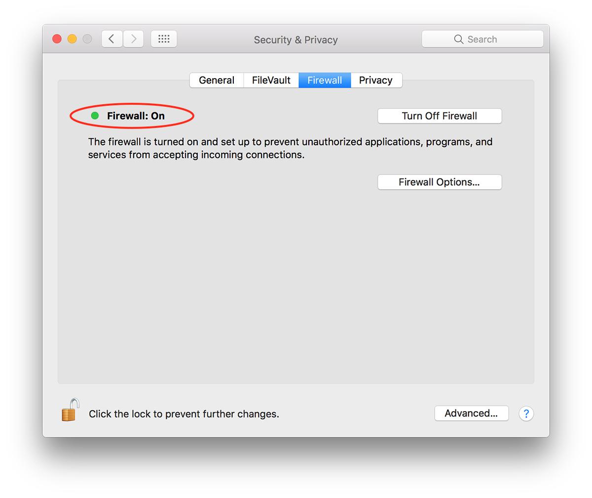 macOS Sierra firewall settings