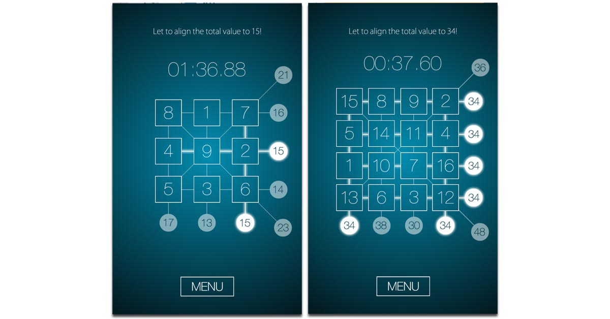 Screenshots from Magic Square Puzzle