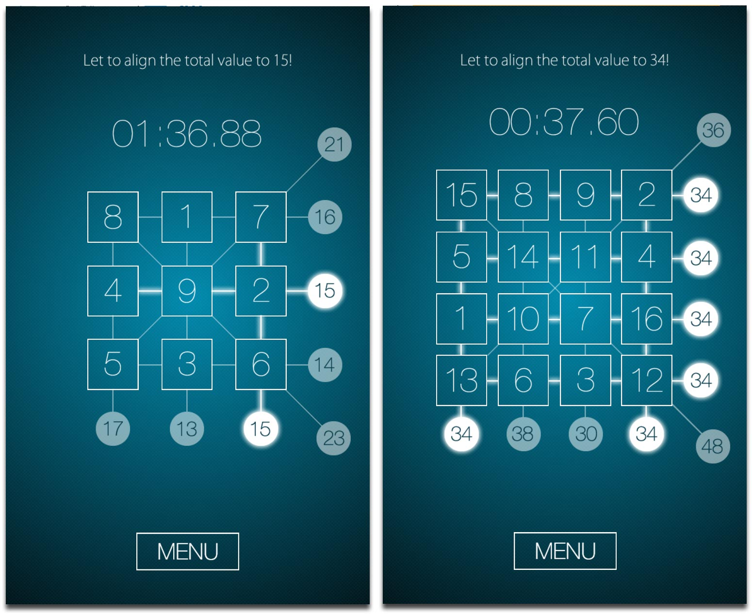 Magic Square Puzzle for iPhone, a Fun Game for Numbers Nerds