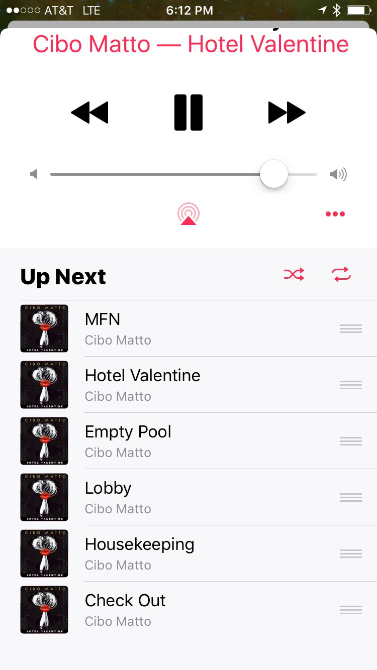 Music App in iOS 10.1.1 - Up Next Sheet with Shuffle Off