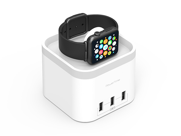 PowerTime Apple Watch Charging Dock with 3 USB Ports: $39