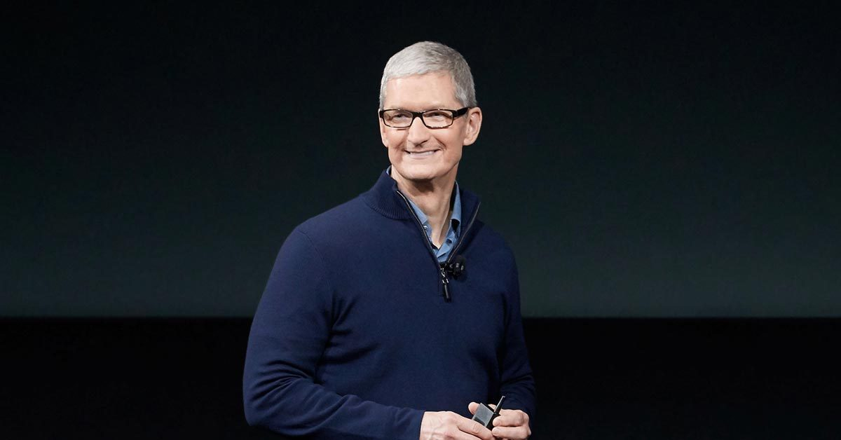 "Apple CEO Tim Cook during Mac ""hello again"" event."