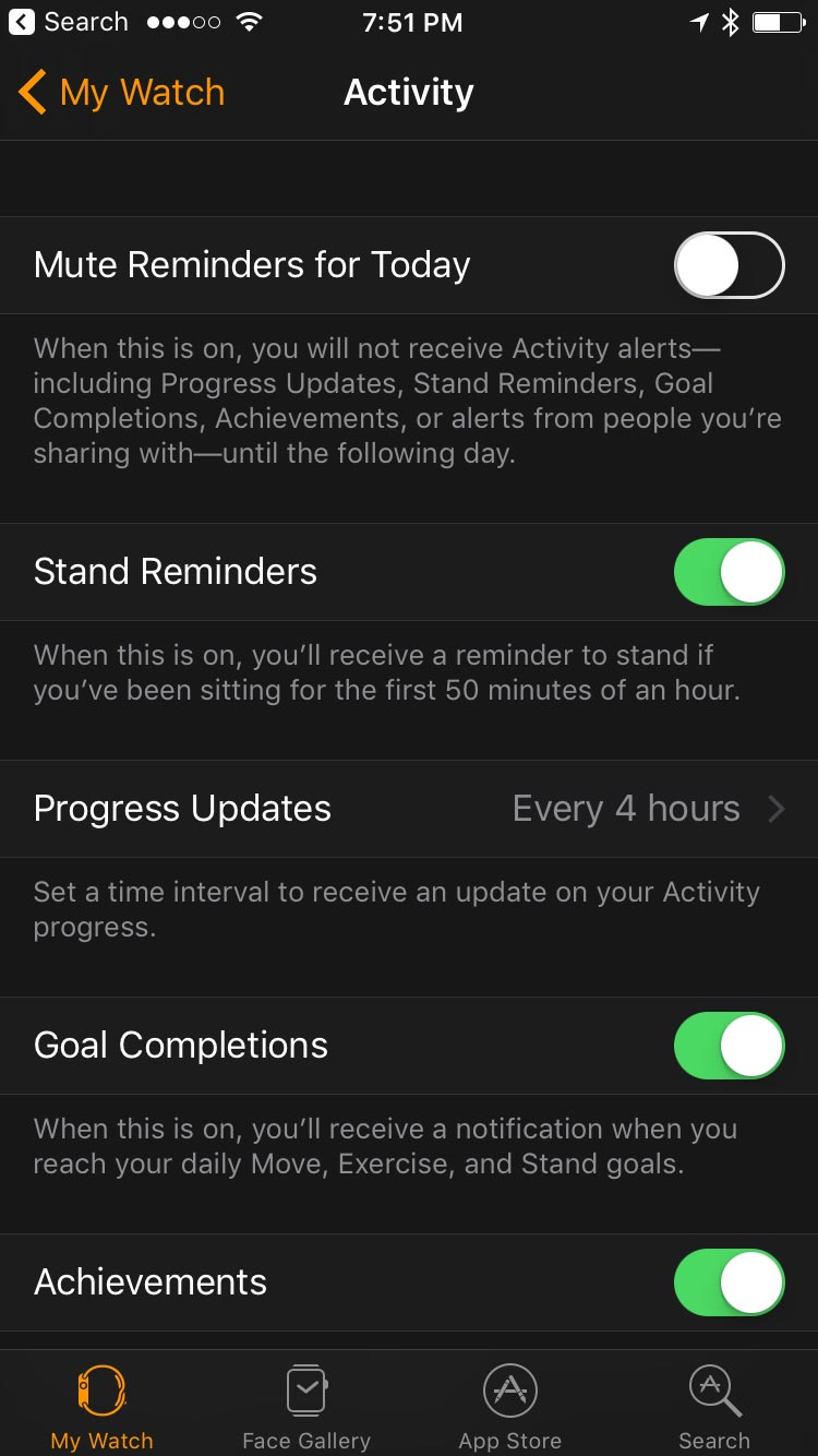 Activity tab in Watch App in iOS 10