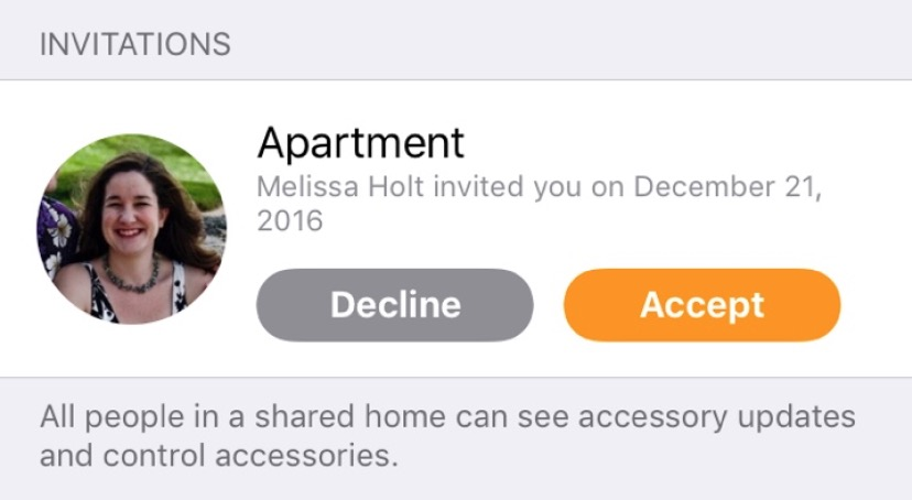 Apartment Invite for controlling HomeKit in the Home app