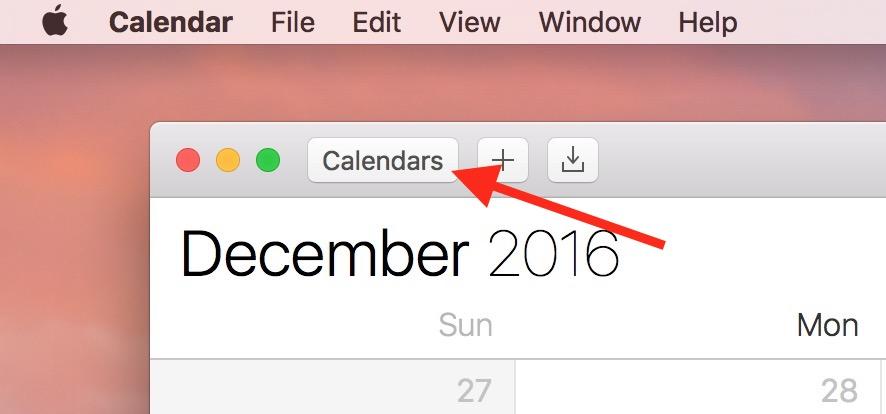 Calendars button in macOS Sierra's Calendar app