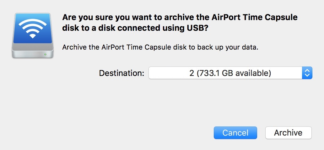 Confirming your Time Machine archive destination in AirPort Utility