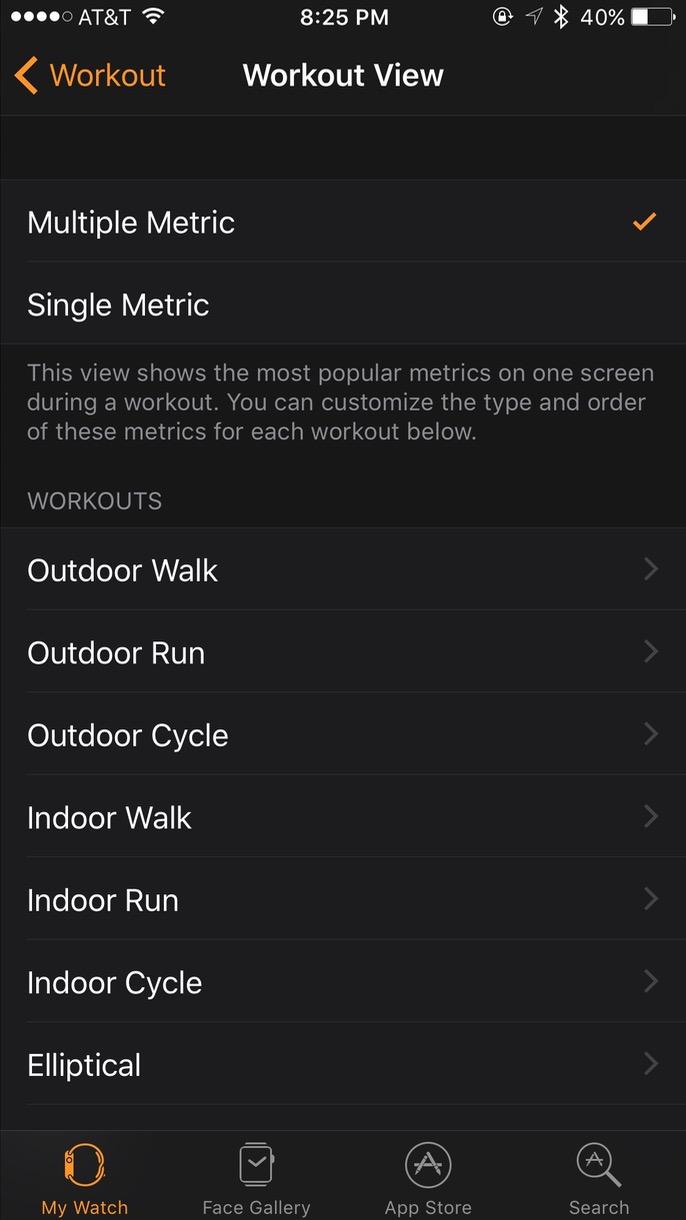 Customizing Apple Watch workout metrics in the iPhone Watch app