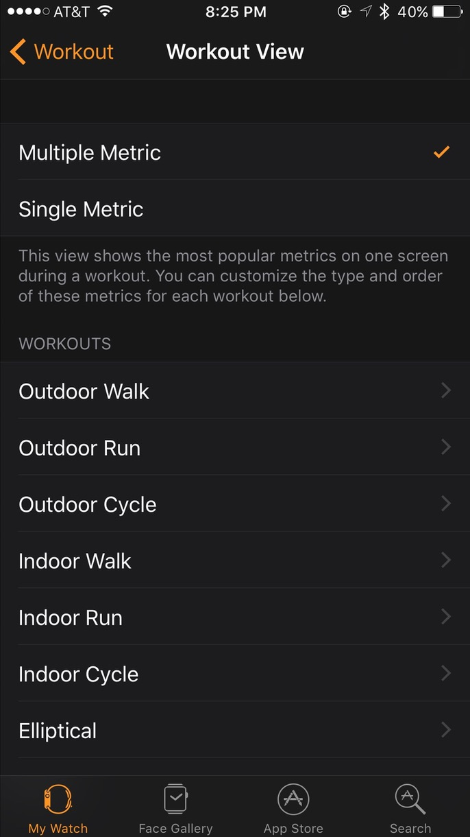 Customizing Apple Watch workout metrics in the iPhone Watch app