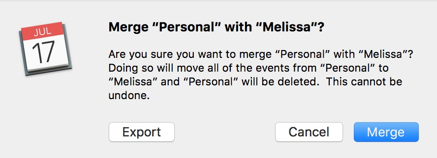 Are You Sure Dialog warning about merging calendars in the macOS Sierra Calendar app