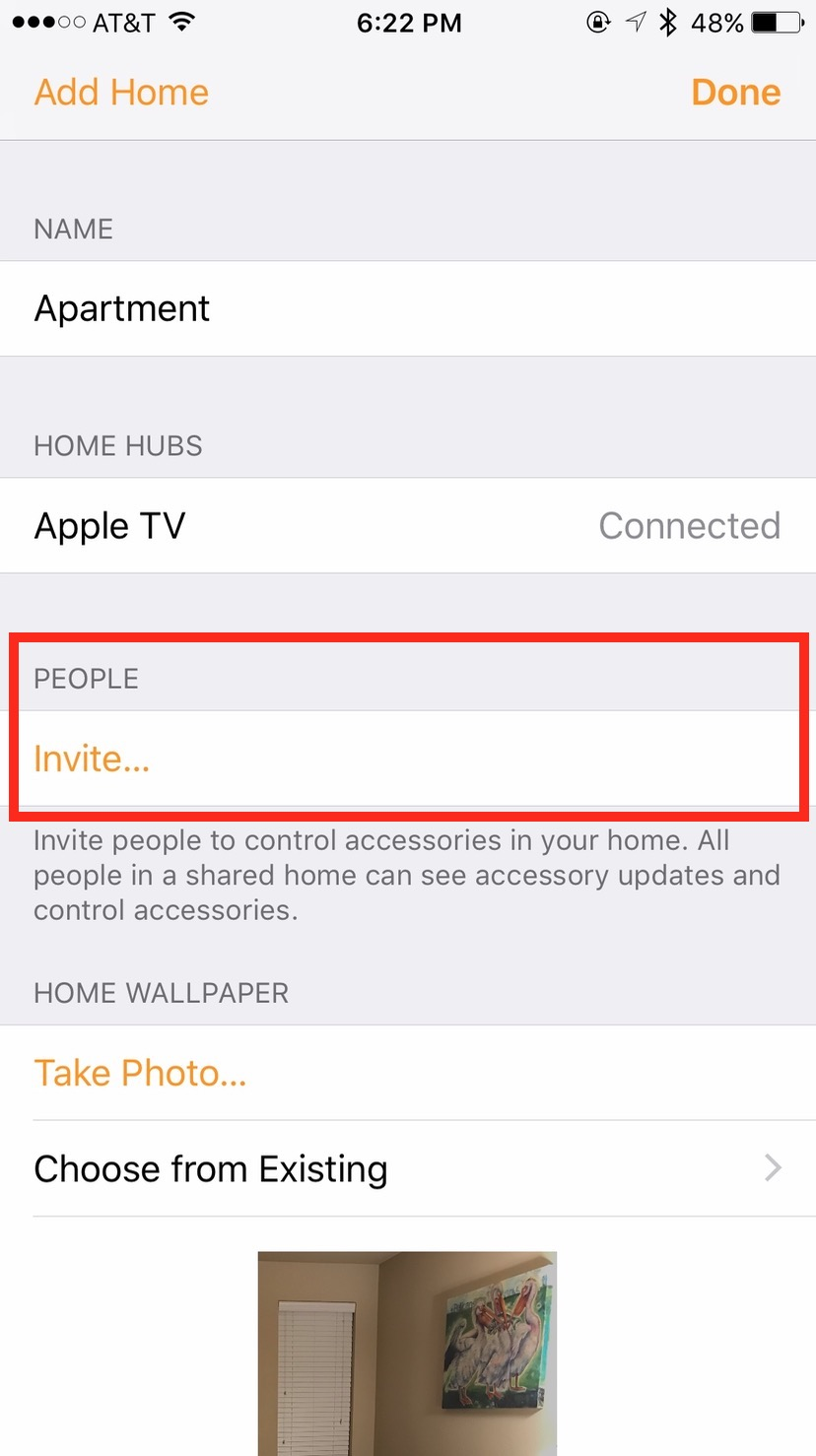 Tap Invite in the Home app to add someone to control your HomeKit devices