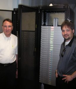 John with a customer's small cluster of Xserves.