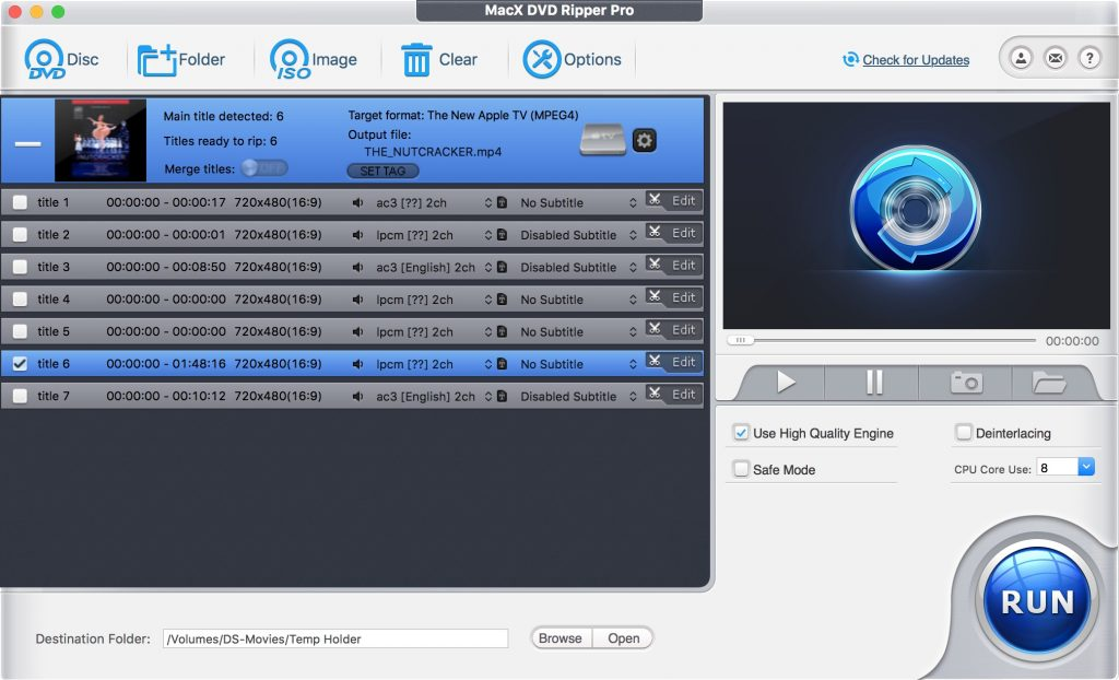 MacX DVD Ripper Pro lets you select which track(s) you want to rip.