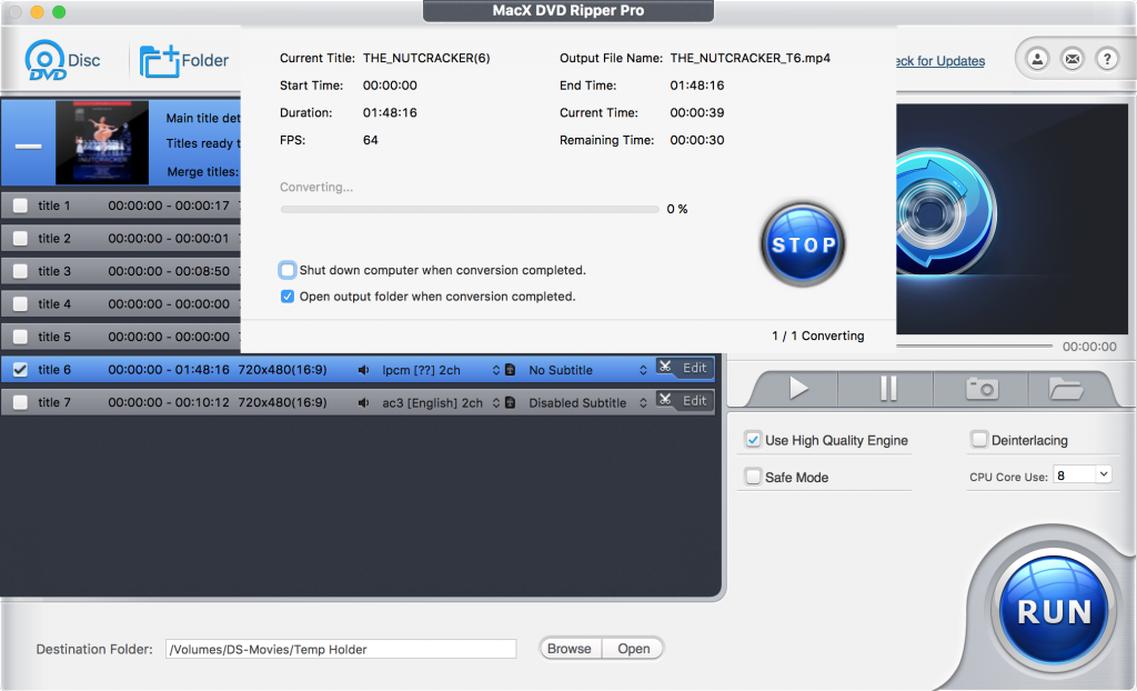 MacX DVD Ripper Pro lets you select just how much of your Mac's CPU you want to allocate to your ripping operation.