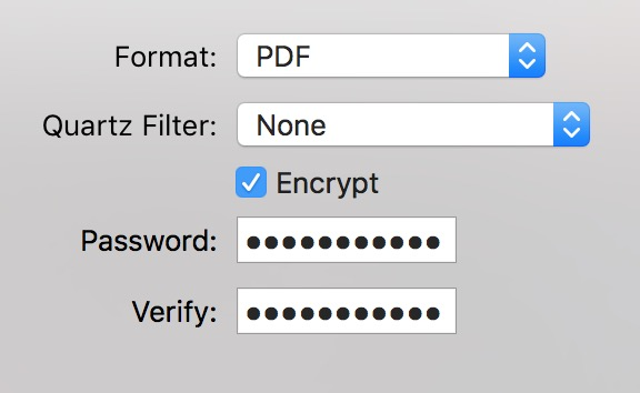Entering a password to encrypt a PDF in the Preview app