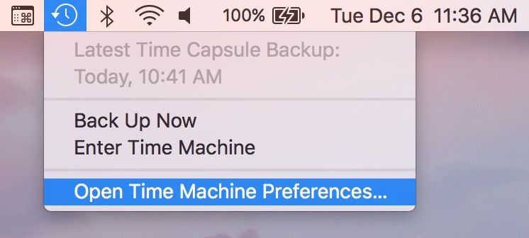 macOS Time Machine Preferences from the menu bar