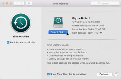 To add a backup disk (or a second disk), click Select Disk… in the Time Machine System Preferences pane.