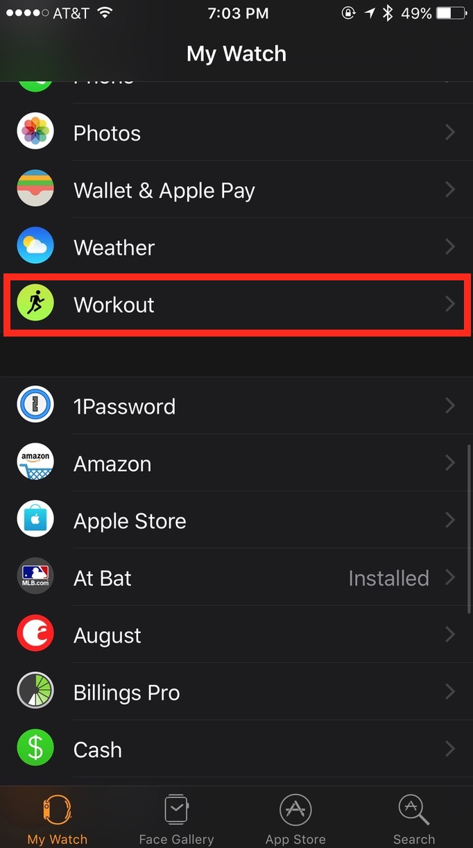 Apple Watch Workout settings in iPhone Watch app