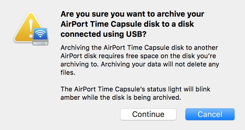 AirPort Utility dialog warning the Time Machine archive will overwrite the destination disk