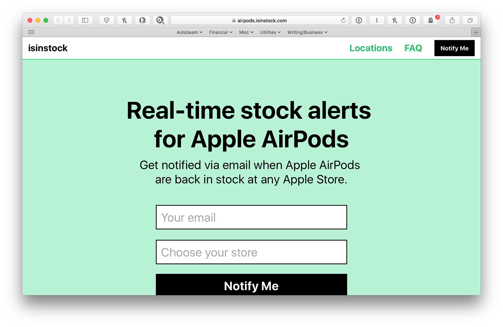 AirPod alerts website