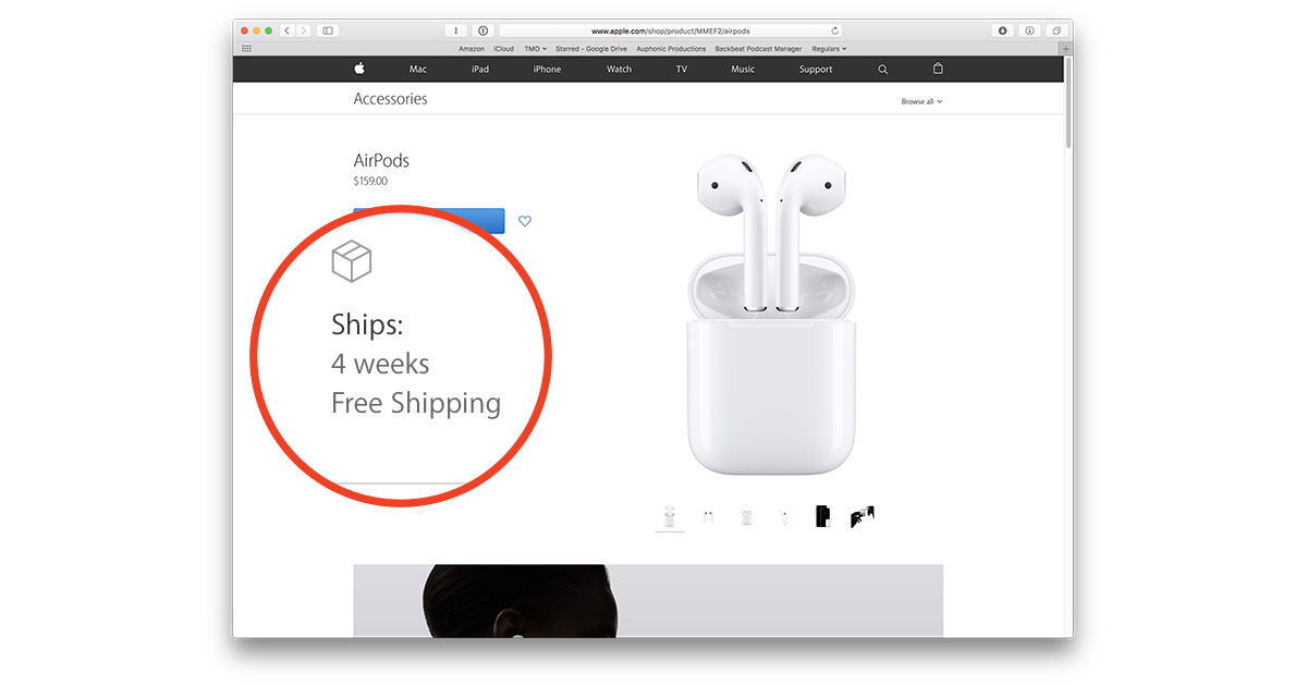 AirPods showing four week delay after first hour of availability