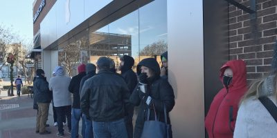 Line outside University Park Village Apple Store in Fort Worth, Texas, for AirPods