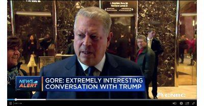Al Gore outside of Trump Tower