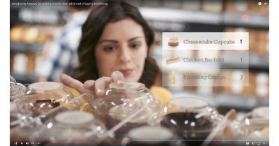 Woman shopping at Amazon Go with