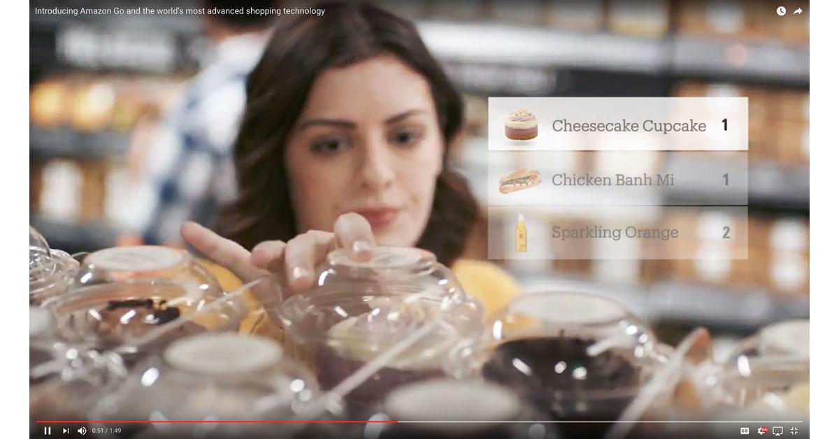 "Woman shopping at Amazon Go with ""Virtual Shopping Cart"""