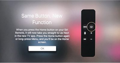 The Home button on the Apple TV remote now launches the TV app