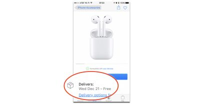 AirPods shipping for December 21st delivery