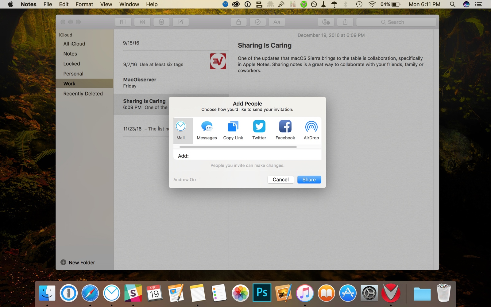 sharing options in apple notes