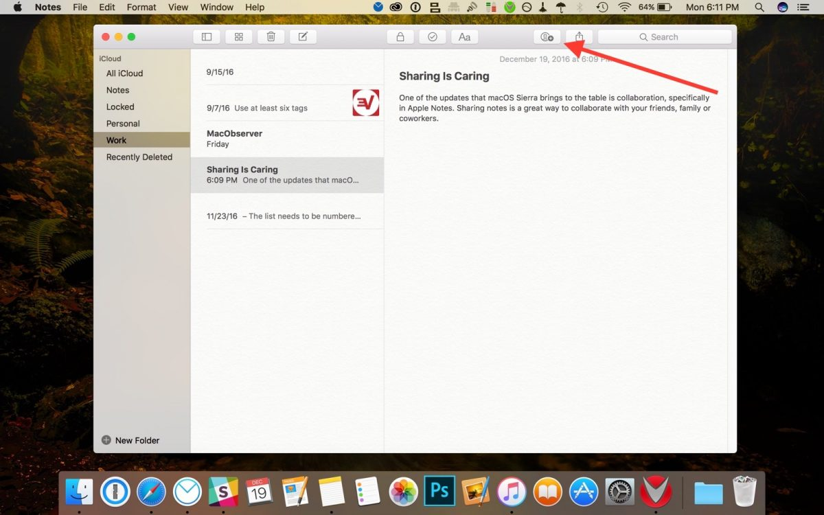 sharing icon in apple notes