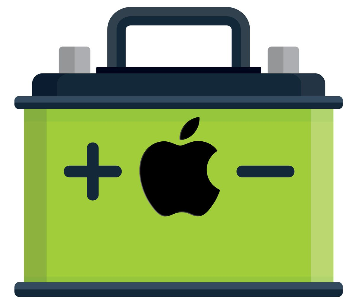 A stylized car battery with an Apple logo