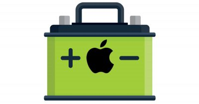 Stylized car battery with Apple logo