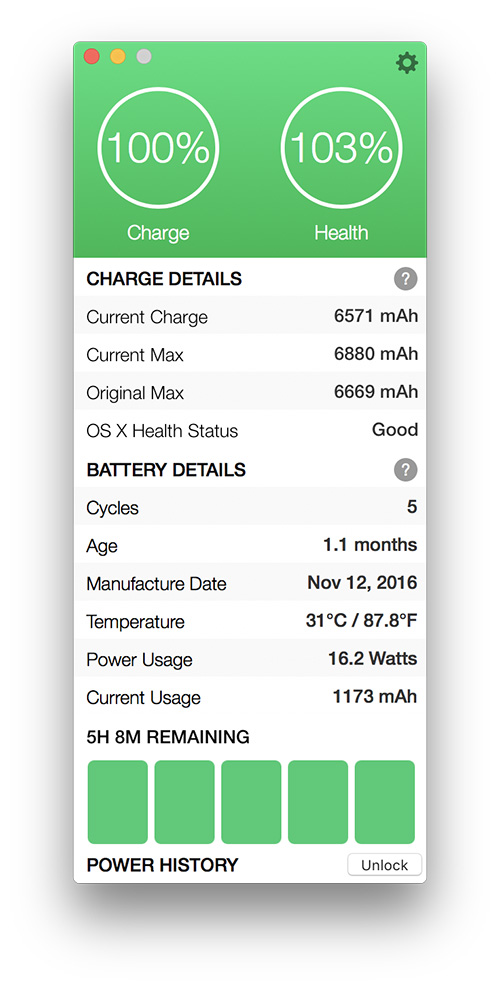 Battery Health 2 showing time remaining estimate for battery charge