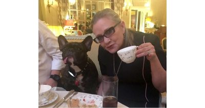 Carry Fisher and her dog Gary