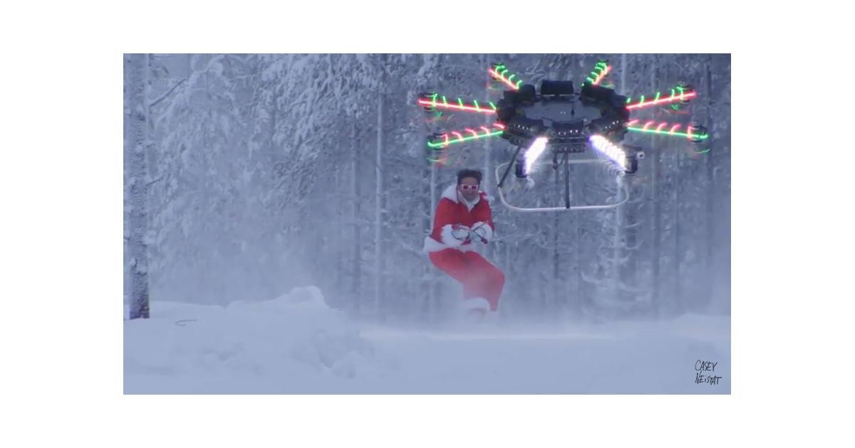 Custom built drone pulling Casey Neistat on his snow board