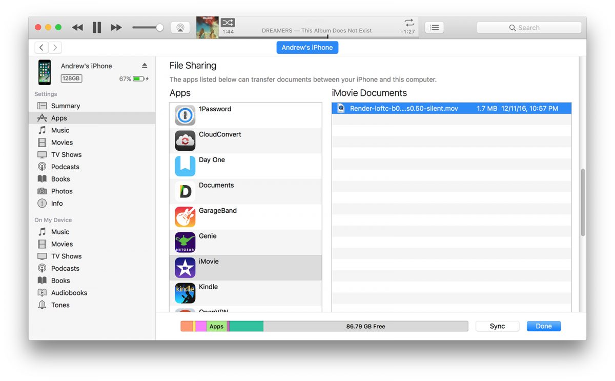 imovie transfer in itunes