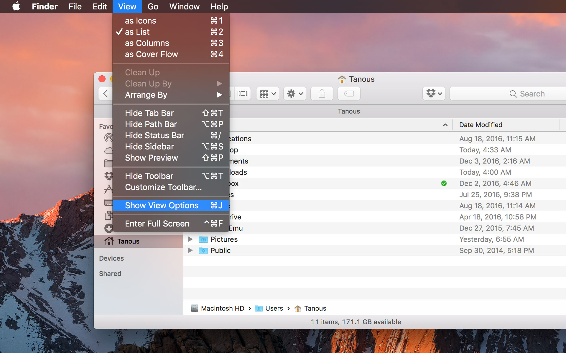 mac finder show view options