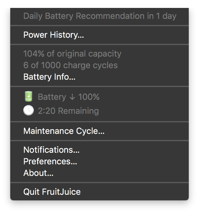 FruitJuice menu bar widget showing time remaining estimate for MacBook Pro battery charge
