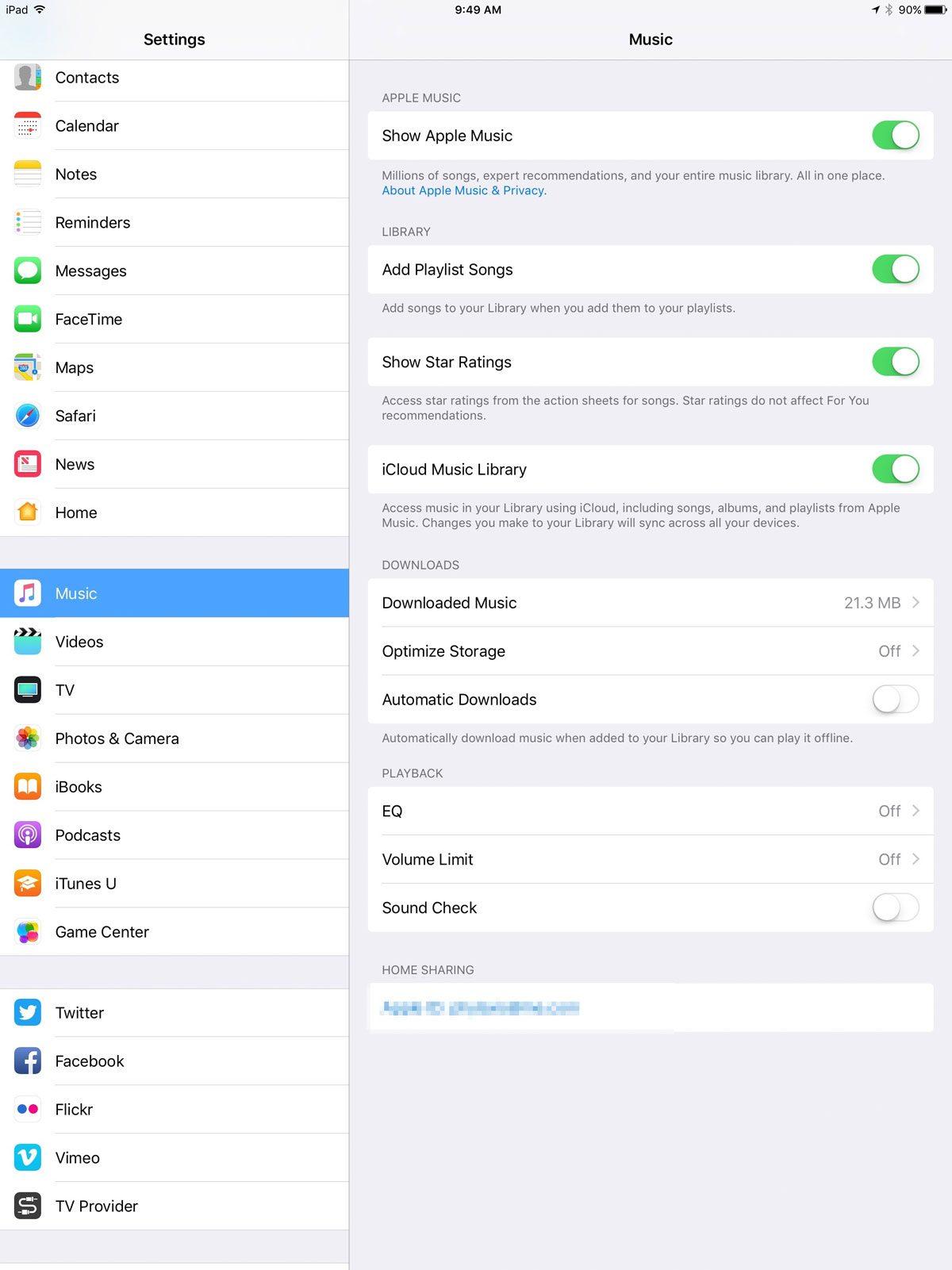 iOS 10.2 Music settings