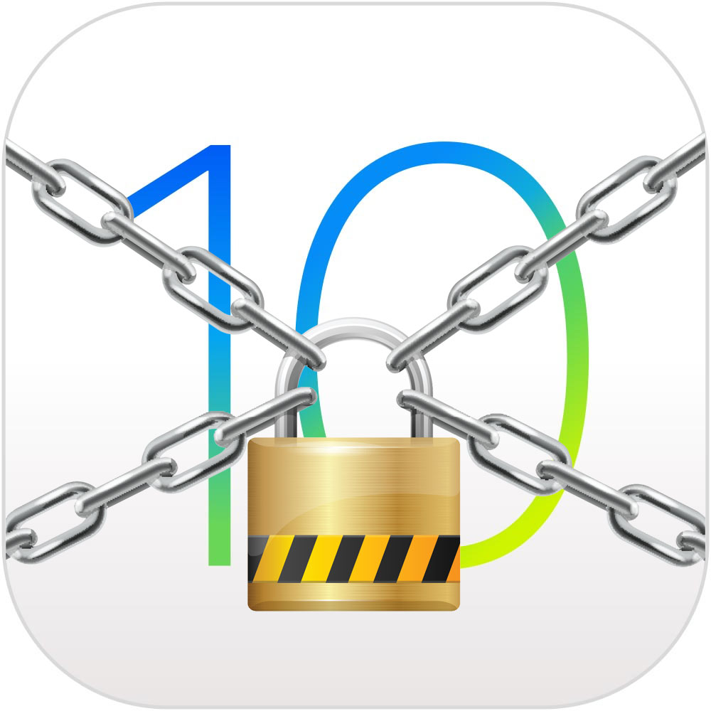 iOS 10 with lock and chain