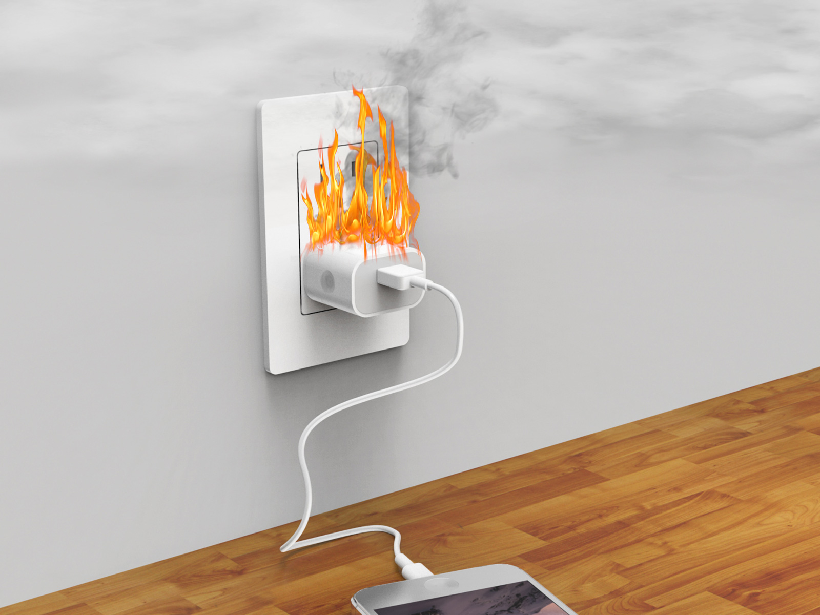 fake iphone charger fire
